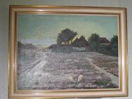 Ölgemälde, Heidelandschaft mit Schafen, mit Rahmen, Retro, guter Zustand - Cremlingen