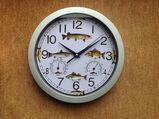 """Angler-Uhr""""Wanduhr""""Wetterstation""""Aal""""Dorsch""""Forelle""""Lachs""""Hecht"""