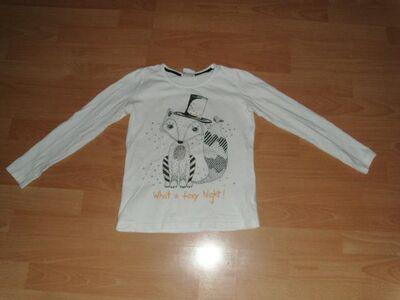 Langarmshirt von Yigga, weiß mit Motiv, Gr. 134/140 - Bad Harzburg