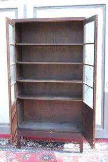 Art Deco Bücherschrank in Eiche dunkel furniert / Schrank zum Restaurieren - Zeuthen