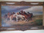 Ölgemälde Athanas Scheloumoff  Pferdeherde bei Unwetter in der Steppe - Spraitbach
