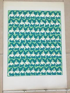 """Siegfried Neuenhausen """"Busenfrauen"""", Farbige Serigrafie 1968 - Coesfeld"""