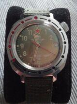 Sehr seltene russische vintage UdSSR Armbanduhr Fallschirmjäger mit Krone auf 2Uhr