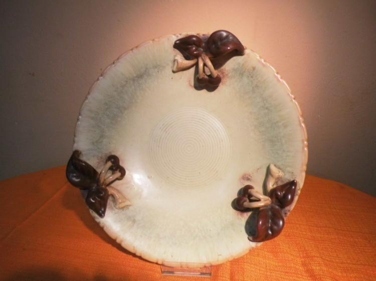 Große Obstschale aus Keramik, Motiv Kirschen / Handarbeit ca.1975 / Obstteller - Zeuthen