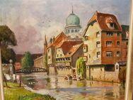 Ölgemälde alte Synagoge Nürnberg Jude Judentum Altstadt 1874 Hans Sachs Platz - Nürnberg