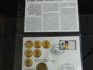 BRD Numisbrief 1990 Franz Josef Strauß / vergoldete 2,- DM Münze + Briefmarke - Zeuthen