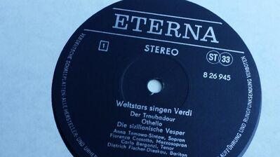 SCHALLPLATTE WELTSTARS SINGEN VERDI - Berlin Lichtenberg