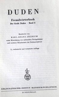 """""""Der große Duden – Fremdwörterbuch – Band 5"""", 771 Seiten, Dudenverlag, ISBN: 3411009055, stammt aus 1971, guter Zustand, 7,- € - Unterleinleiter"""