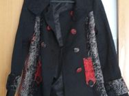 Zhao Long kurzer Mantel M schwarz mit rotem & grauem Stickmuster - Dortmund Aplerbeck