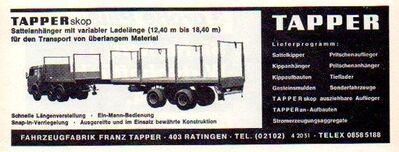 Franz Tapper Ratingen - Werbeanzeige - Reklame-Anzeige 1971 - Steinen (Baden-Württemberg)
