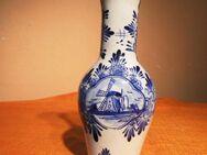 Schöne Keramik Vase blue Holland handgemalt / Blumenvase Windmühle blau - Zeuthen