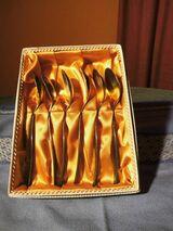 6 Teelöffel GRANIT 100er Silberauflage, Blumenmotiv / Löffel Länge ca. 13,6 cm