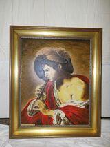 Großes Gemälde Öl auf Leinwand / Replik Flötenspielender Knabe mit rotem Umhang