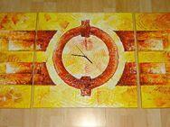 Dreiteiliges Öl Bild Relief mit Uhr rot orange gelb - Sankt Augustin