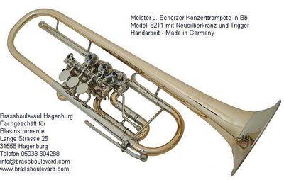 Scherzer Konzerttrompete, Modell 8211 Goldmessing lackiert. NEUWARE - Hagenburg
