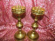 2 sakrale Kerzenhalter / Altarleuchter aus Messingblech / alte Kerzenleuchter - Zeuthen