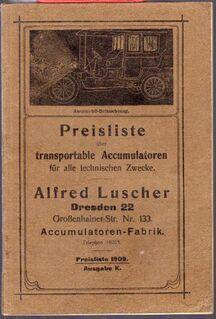 Preisliste transportable Akkumulatoren für alle technischen Zwecke Hauptkatalog - Spraitbach