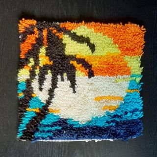 Hochflor Wand Teppich Vintage Sonne Sonnenuntergang Palme Strand Meer 70er Jahre - Nürnberg