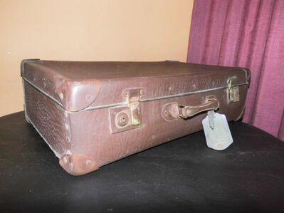 Antiker Reisekoffer 1930er / Koffer aus Vulkanfiber / Koffer mit Lederbeschlägen - Zeuthen