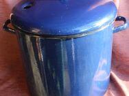 Oma´s großer dunkelblauer Emaille-Einkochtopf mit 28 Litern - Bad Belzig