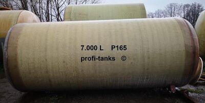P165 gebrauchter 7.000 L Polyestertank GFK-Tank mit Chemieschutzschicht Wassertank Regenauffangtank Flüssigfuttertank Molketank Melassetank Sickersaft - Nordhorn