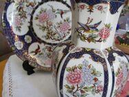 Porzellan-Teller + Porzellan- Vase aus Japan (Blau Bunt ) mit Blumen und Vögeln - Weichs