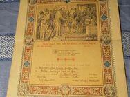 Antike, evangelische Trauurkunde von 1888 / sehr schöner Jugendstildruck - Zeuthen