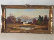 Altes Bild auf Leinen, alter Rahmen, Landschaft , signiert - Büdelsdorf