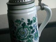 Wagner & Apel Porzellan  Bierkrug Bierseidel Seidel Humpen mit Deckel grüne Blumen Krug DDR Vintage 4,- - Flensburg
