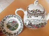 schöne Keramik Teekanne + Schale