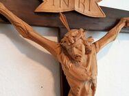 Altes Wand Kruzifix Kreuz Kloster Franken Holz geschnitzt 112cm Altar Kapelle - Nürnberg