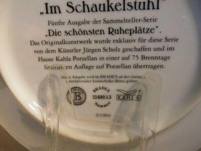 KAHLA Porzellan Sammelteller Im Schaukelstuhl mit Zertifikat + Beschreibung 1994 - Zeuthen