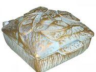 Weihwasserbecken Gold Creme, Weihwasserkessel mit Deckel, Grabdeko - Uslar Zentrum
