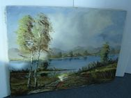 """Bild """"Landschaft mit See"""", 70 x 55 cm ohne Rahmen, aus Nachlass"""