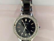 MARKENWARE Armbanduhr Damen DKNY Ceramic Watch Schwarz/Silber mit Strass, gebraucht - Dessau-Roßlau