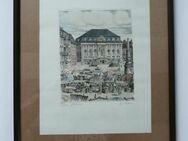 Original Radierung- Bonn Markt W.Peters, - Angelbachtal