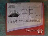 Neuwertiges, stabiles Anhängernetz von Mamutec mit gekettelter Randverstärkung in Grün, 1,50 x 2,20 m, Maschengrösse: 50 x 50 mm, wirklich nur 1 x benutzt, praktischer Aufbewahrungskoffer, NP bei Hornbach: 29,90 €, Versand gegen Aufpreis möglich, 19 € - Unterleinleiter