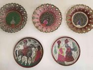 Zierteller bemalt rund aus Messing 5 Stück Wandteller Deko - Kaufbeuren
