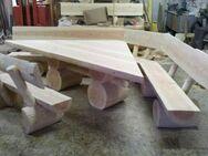 Eckgarnitur Sitzgruppe Holzgarnitur Tisch Bänke Massivholz - Wadern