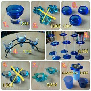 Teelichthalter, Kerzenhalter, Kerzenteller, blau + orange/gelb - Immenhausen