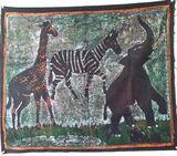 Wandbild Tuch mit afrikanischem Motiv 83x70