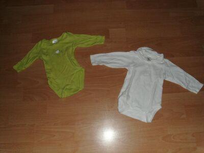 2 Langarmbodies, hellgrün und weiß, Gr. 62/68 - Bad Harzburg