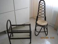 Rattan-Kleinmöbel, Stuhl und Servierwagen - Erlensee