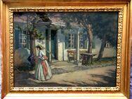 MeisterGemälde CARL VOSS (1856 Rom), Biedermeierdame vor Villa um 1890!!! - Berlin