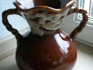 Vase Blumenvase Henkelvase 20 cm Keramik braun glänzend Retro Vintage 3,- - Flensburg