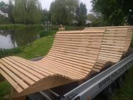 Wellenbank 0,5m breit Sinnesbank, Sonnenliege Holzbank Gartenliege Relaxbank - Wadern