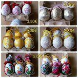 Ostereier mit Motiven + Borte, verschiedene Farben, Deko