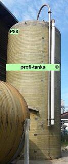 P88 gebrauchter 35.000 L Polyestertank GFK-Tank Reich-Tank kombiniertes Salzsilo mit Trichter inkl. Soleerzeuger vertikal stehender Lagertank