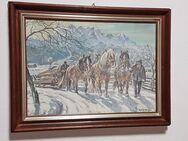 Aquarell 1943 Vierspänner Pferde Gespann Tirol Alpen Bayern Schlitten Rückepferd - Nürnberg