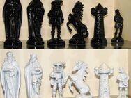Schach Schachspiel Zinn Figuren das Mittelalter in schwarz weiss - Spraitbach